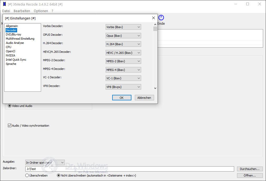 XMedia Recode - Audio und Video Dateien Konvertieren › Dr