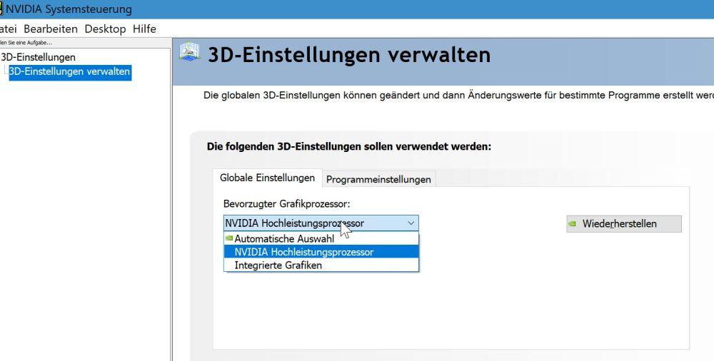 Nvidia-Systemsteuerung Startseite