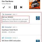 Benachrichtigung der MINI Connected-App zur rechtzeitigen Abfahrt zum Zielort