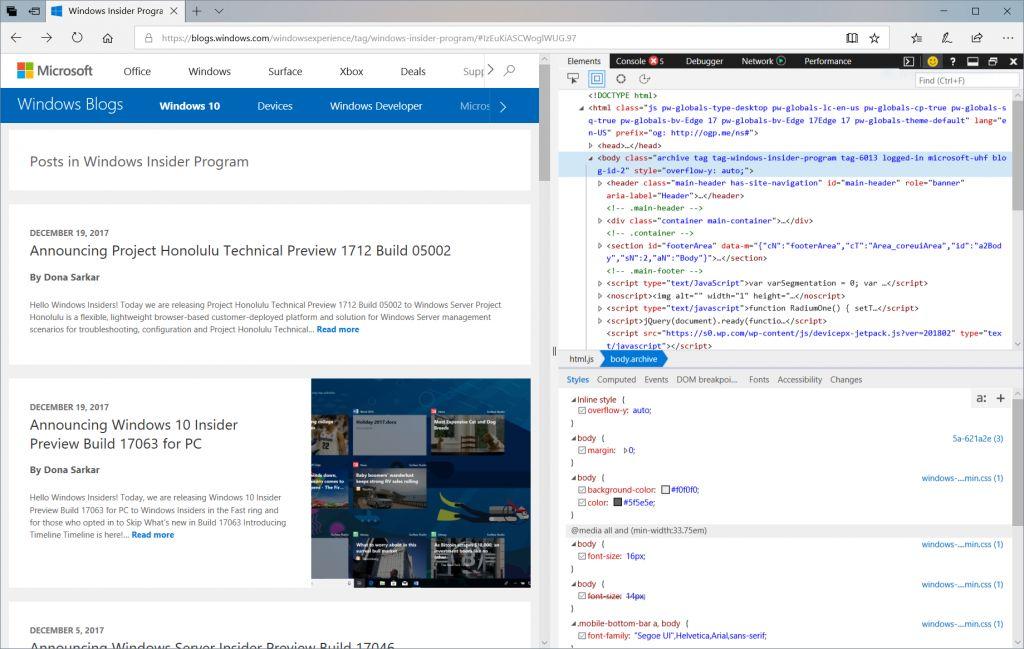 Neue Ansicht für die Entwickler-Tools in Microsoft Edge