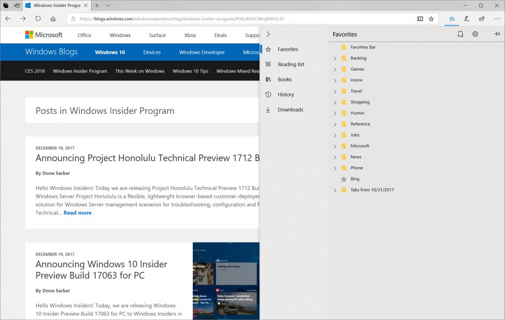 Der neue Microsoft Edge Hub in Build 17074