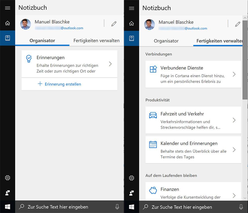 Das Cortana-Notizbuch erhält einen neuen Look