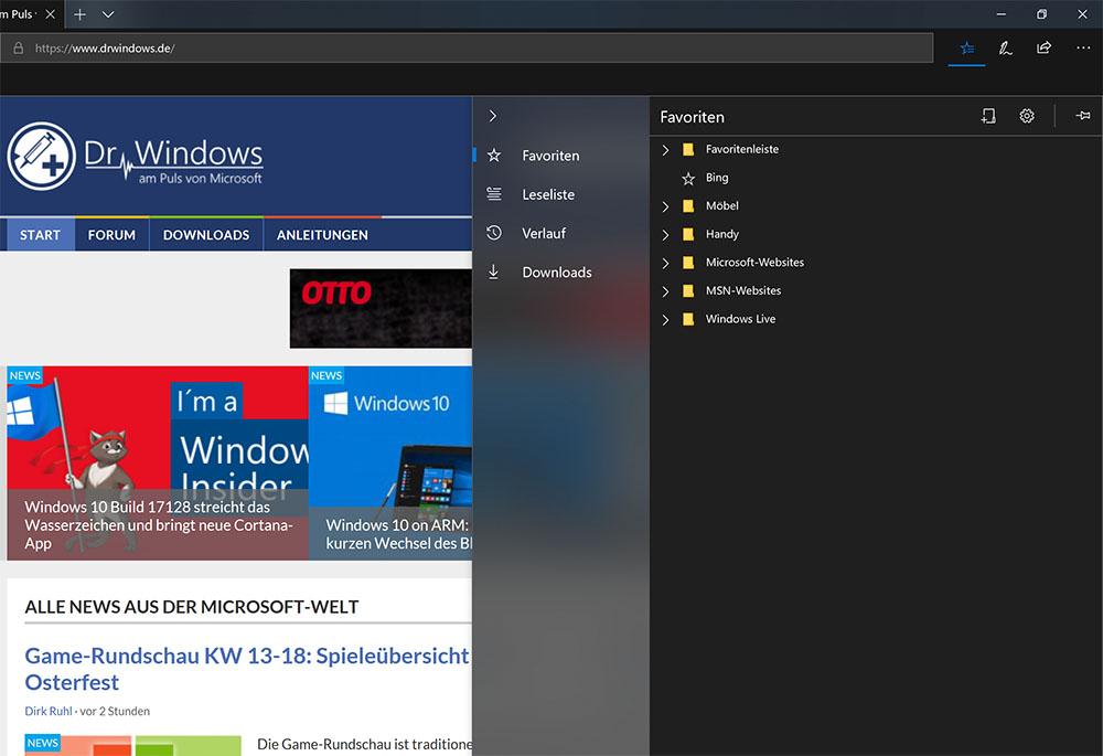 Der überarbeitete Favoriten-Hub in Microsoft Edge