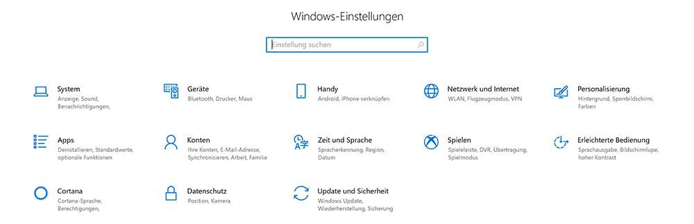 Die neue Startseite der Einstellungen in Windows 10 Version 1803