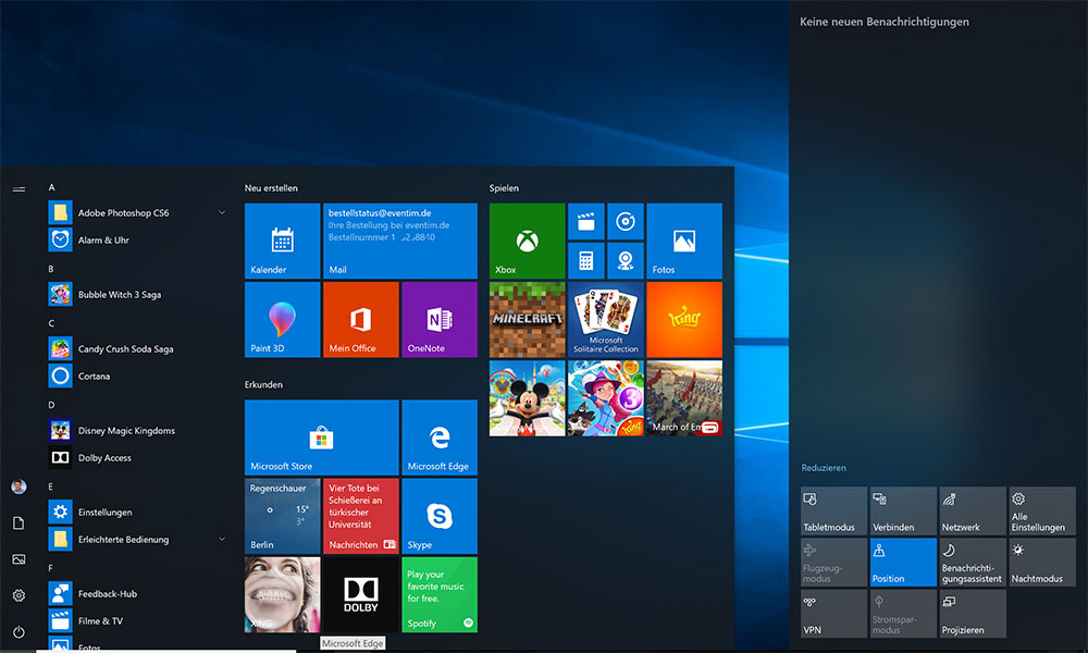Das Fluent Design breitet sich in Windows 10 weiter aus