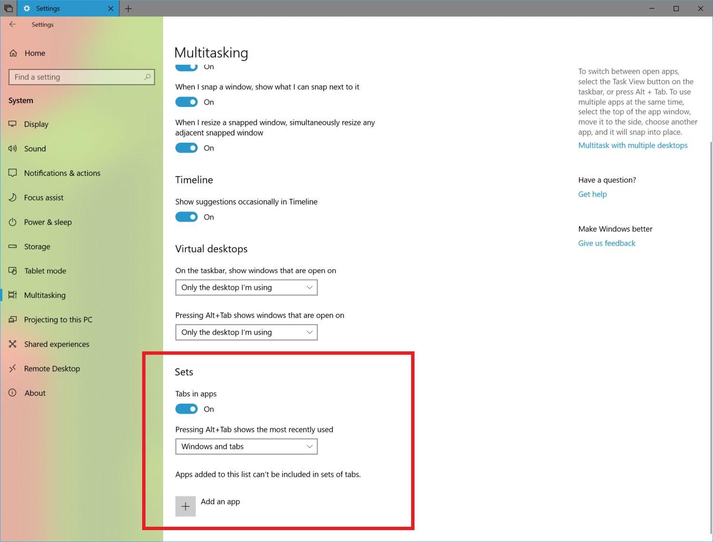 Windows 10 Build 17639 bringt neue Einstellungen für Sets