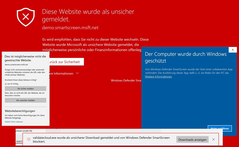 Warnmeldungen des Windows Defender