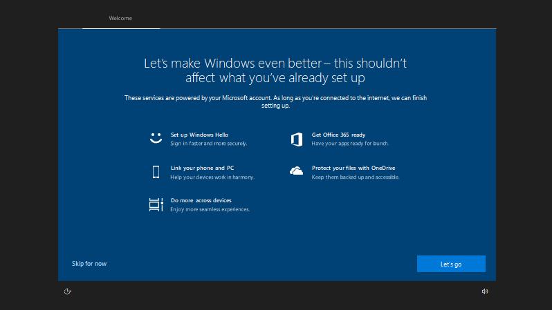 Windows 10 Build 17682: Post upgrade