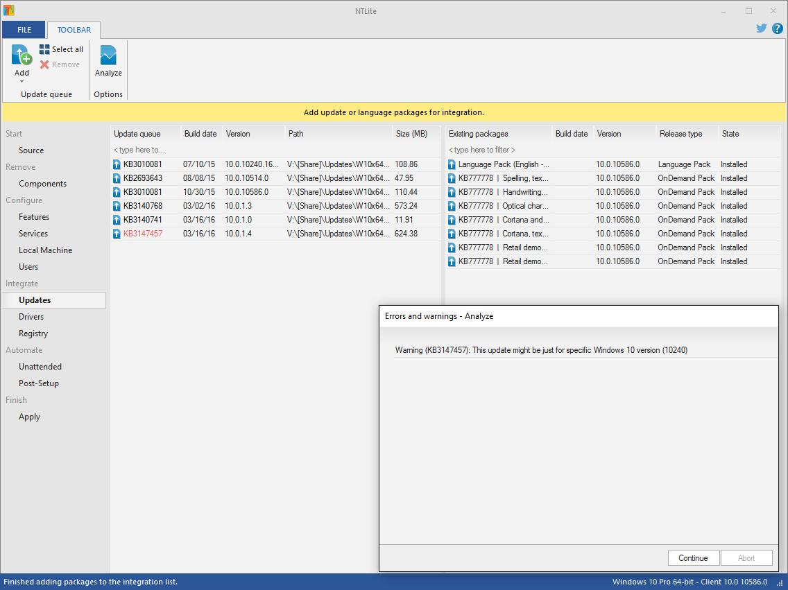 NT Lite Update Integration