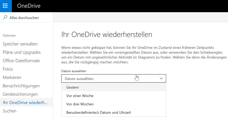Die OneDrive-Wiederherstellungsfunktion