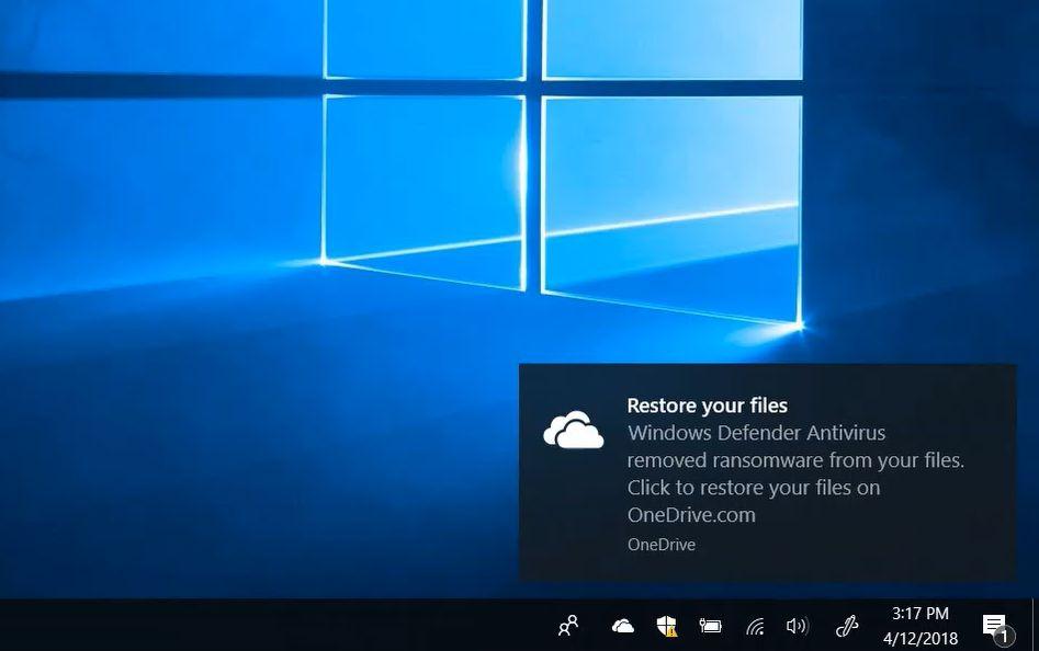 Der Windows Defender schlägt die Wiederherstellung von OneDrive vor