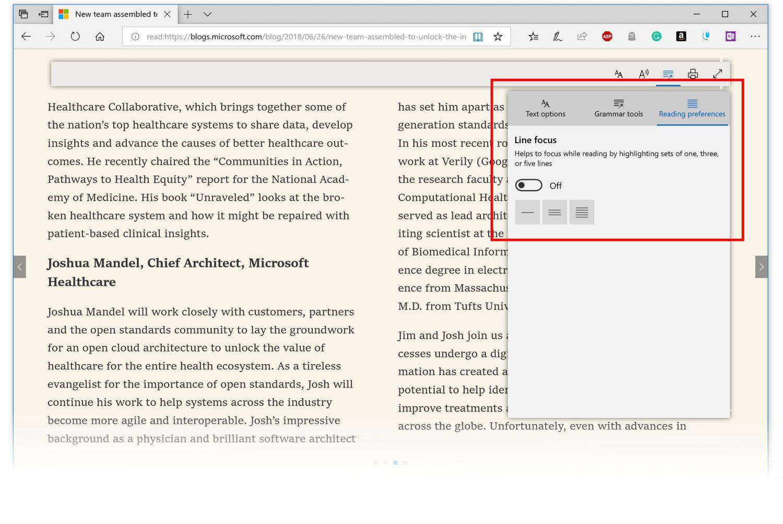 Die Leseansicht in Microsoft Edge wurde optimiert