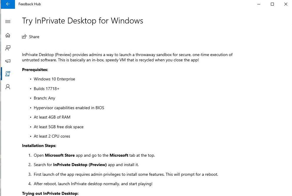 InPrivateDesktop für Windows 10