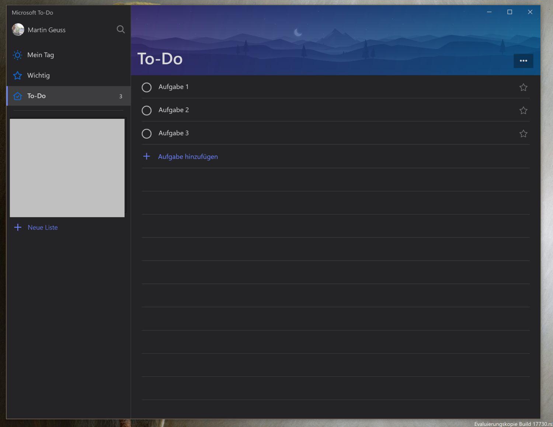 Dunkles Design für Microsoft To-Do