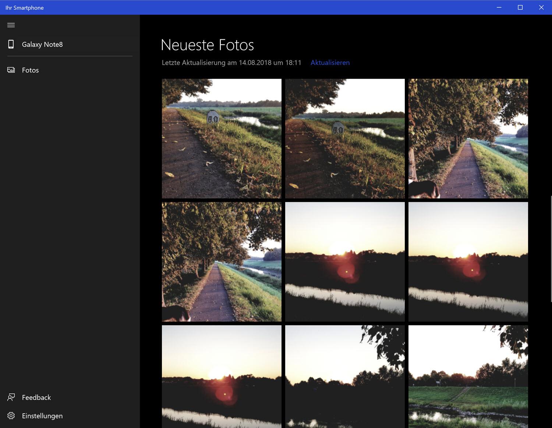 Die App Your Phone zeigt Fotos vom Android-Handy unter Window 10 an