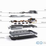 Aufbau des Batteriepakets im Mercedes-Benz EQC. Das Systemdesign der Batterie ist modular aufgebaut, es besteht aus zwei Modulen mit jeweils 48 Akkuzellen und vier Modulen mit 72 Zellen.