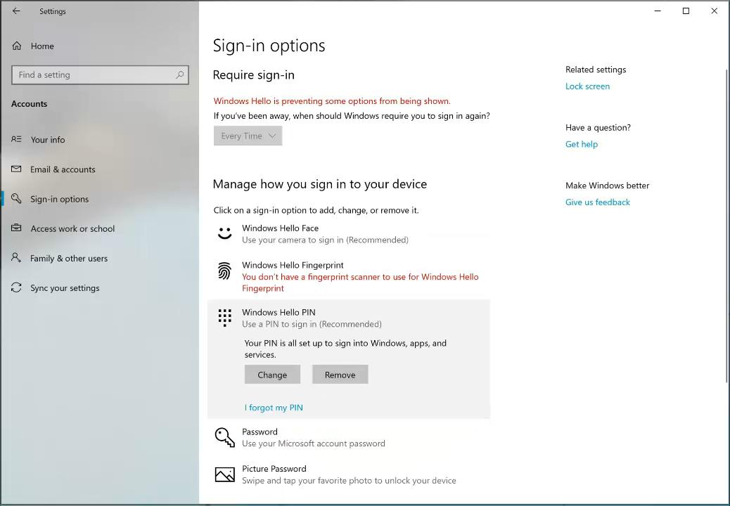 Windows Hello - neue Einstellungen