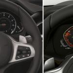 Links ist das serienmäßige Info Display bei BMW ID 6.0 zu sehen. Es beinhaltet analoge Instrumente und einen 5,7-Zoll-Bildschirm für Bordcomputer oder zur Darstellung von Abbiegehinweisen. Rechts ist das 12,3-Zoll-Display des BMW OS 7.0 abgebildet. Es stellt digitale Instrument dar (Fotos: BMW).