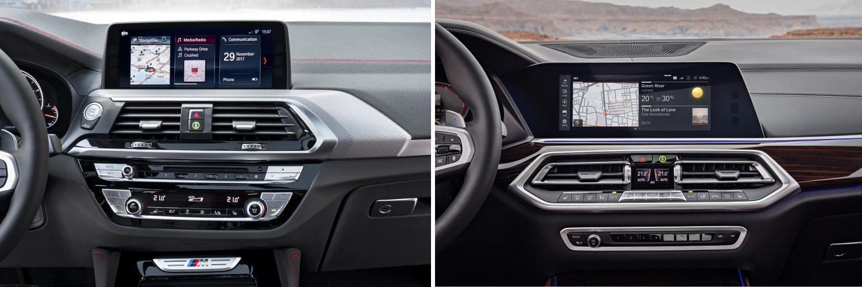 """Links ist das Control Display samt BMW ID 6.0 zu sehen. Im Hauptmenü sind drei Pads mit Live-Inhalten abgebildet. Rechts dagegen das BMW OS 7.0; hierbei können wahlweise bis zu vier Pads pro """"Home-Seite"""" angelegt werden. Es sind bis zu zehn Home-Seiten möglich (Fotos: BMW)."""