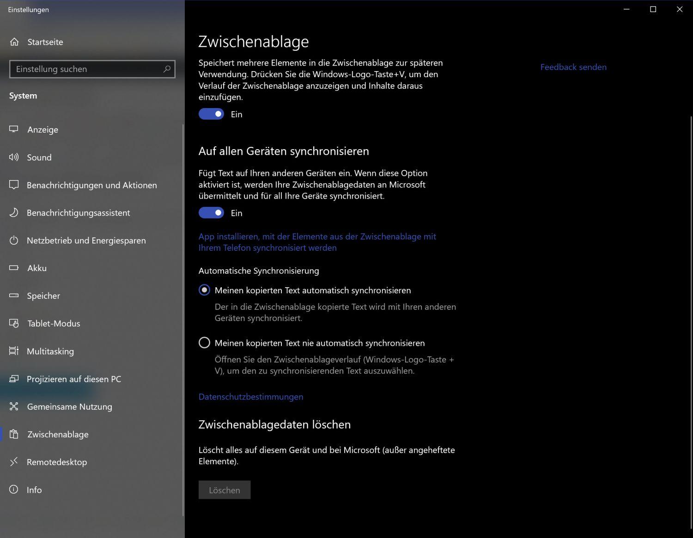 Neue Zwischenablage-Funktionen für Windows 10
