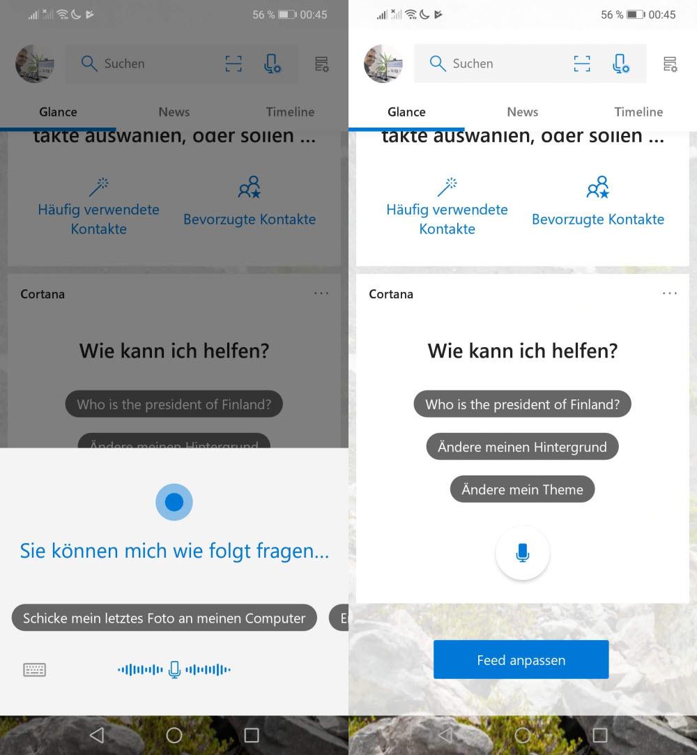 Cortana auf Deutsch im Microsoft Launcher