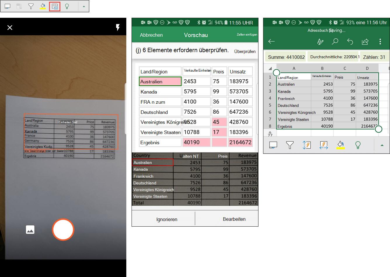 Excel fügt Daten aus Bildern ein