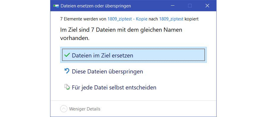 Windows 10 kann Dateien ohne Nachfrage überschreiben