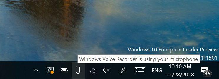 Windows 10 Insider Build 18290 - Mikrofon-Benachrichtigungen