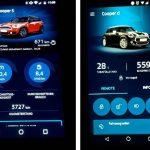 Links ist die alte Version 3 der MINI Connected-Smartphone-App zusehen. Rechts die neue Version 5 mit Remote Services.