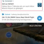 Benachrichtigung der MINI Connected-Smartphone-App, um rechtzeitig zur geplanten Fahrt zu kommen.