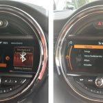 Links ist das Menü bei Bluetooth-Audio-Streaming zu sehen. Rechts die von MINI entwickelte Spotify-App.