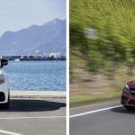 Links ist die Mercedes-AMG C63 mit Panamericana-Kühlergrill zu sehen und rechts rauscht das erschwinglichere Mercedes-AMG C43-Modell mit Twin-Blade-Kühlergrill heran. Beiden gemein ist ein purer Verbrennungsmotor (Fotos: Daimler).