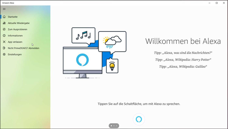 Amazon Alexa für Windows 10 - Screenshot
