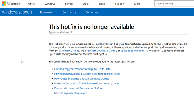Microsoft bietet keine Hotfixes mehr zum Download an