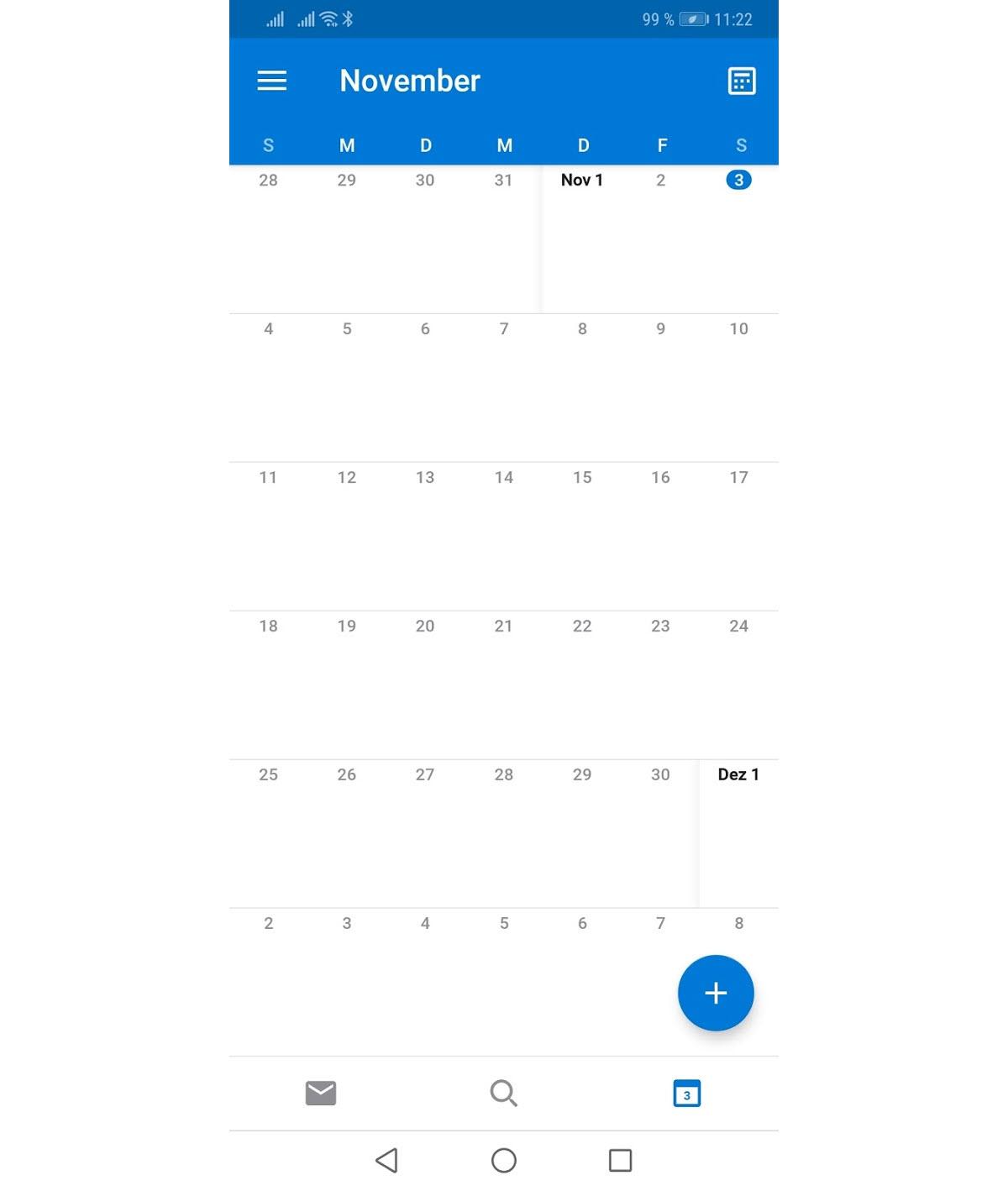 Monatsansicht im Kalender von Outlook für Android