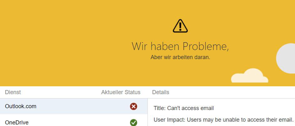 Störung bei Outlook.com