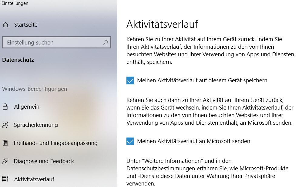 Windows 10 Aktivitätsverlauf