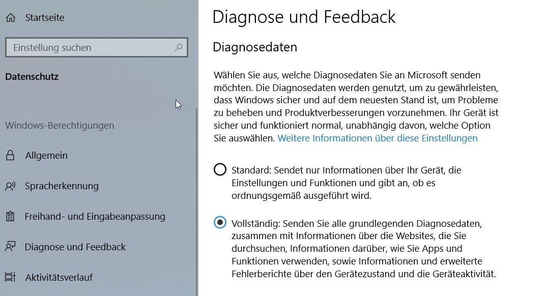Diagnosedaten in Windows 10