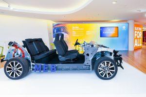 """Modell des VW I.D. """"Kompaktklasse""""-Wagens. Platz für die Passagiere wie im Passat, bei der Außenlänge des Golf (um die 4,30 Meter) (Quelle: Volkswagen)."""