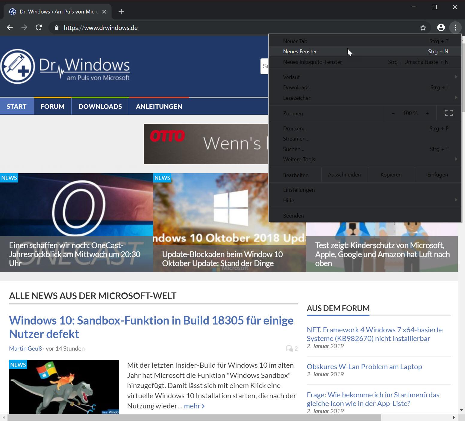 Google Chrome im dunklen Modus