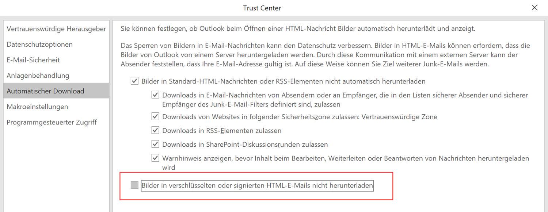 Externer Inhalt ist in sicheren Mails nicht zulässig