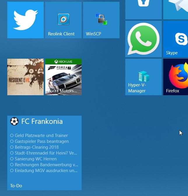 Microsoft To-Do heftet Listen ans Startmenü an