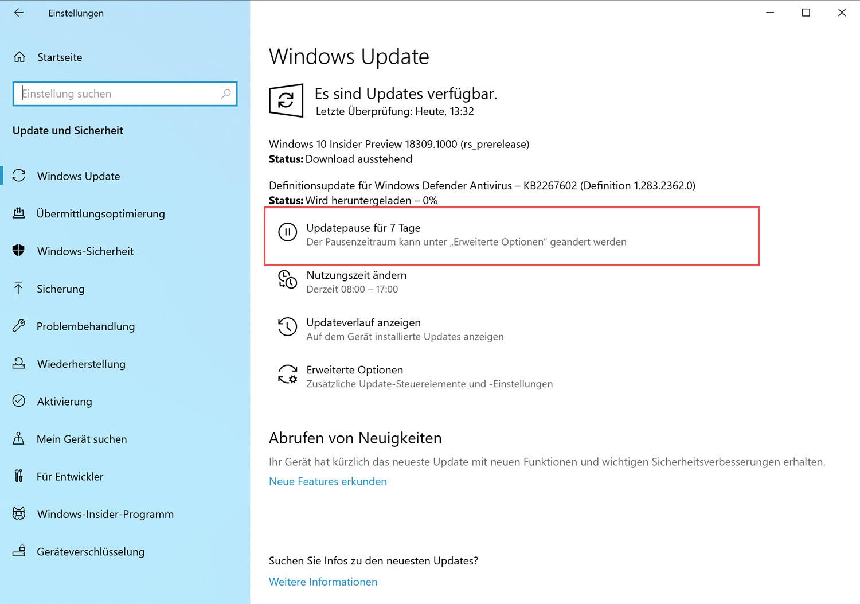 Windows Update mit Pause auch für Home-User