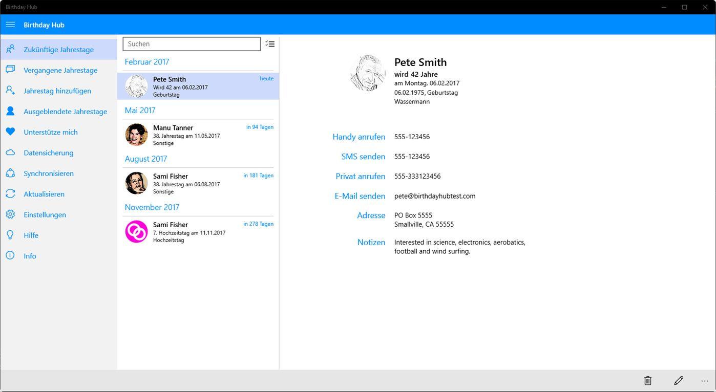 Birthday Hub für Windows 10