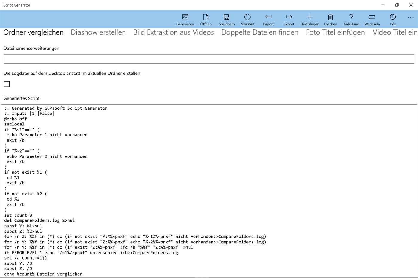 Script Generator für Windows 10