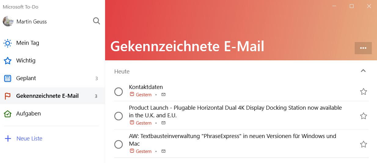 Microsoft To-Do zeigt gekennzeichnete E-Mails an