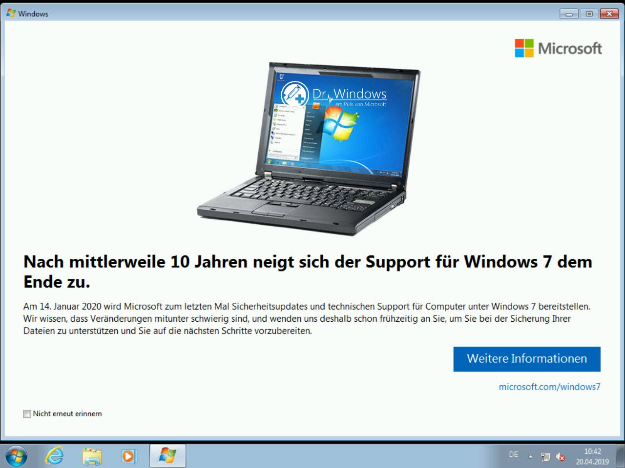 Benachrichtigung über das Supportende von Windows 7