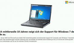 Windows 7: Hinweis auf das Supportende wird eingeblendet