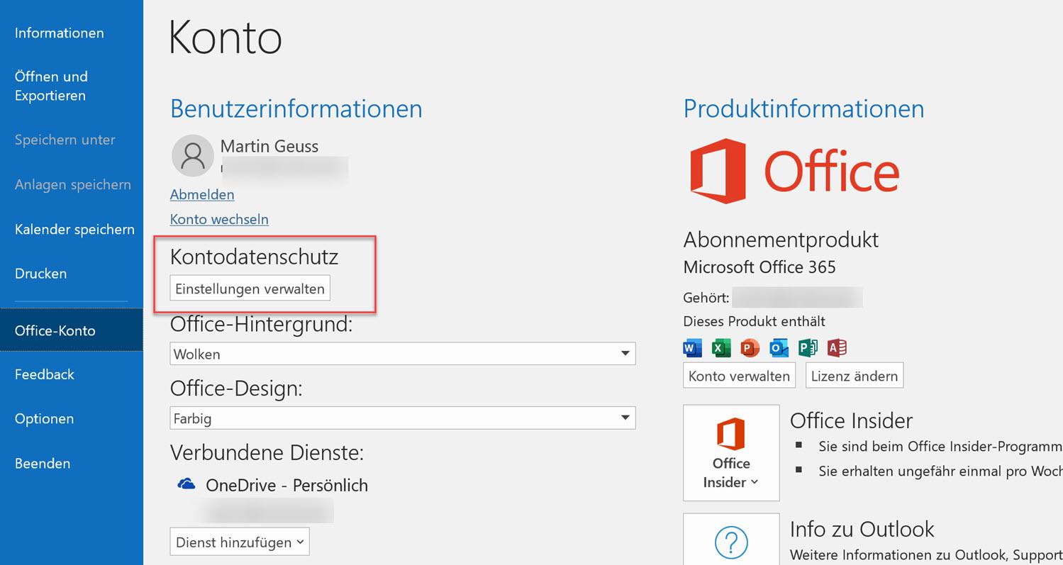 Office-Datenschutzeinstellungen