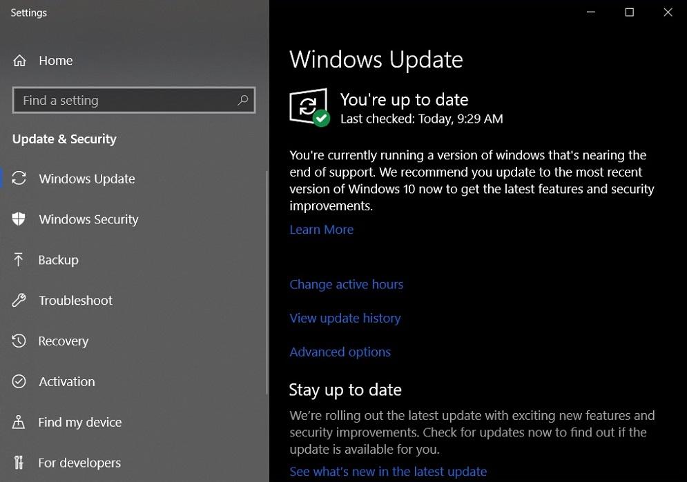 Hinweis in Windows 10 auf das nahende Supportende
